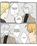 2koma 3boys arthur_pendragon_(fate) bangs blonde_hair closed_eyes colored comic commentary eighth_note english english_commentary fate/grand_order fate_(series) french gilgamesh grey_background hair_between_eyes kyou_(ningiou) merlin_(fate) multiple_boys musical_note open_mouth red_eyes short_hair speech_bubble sweatdrop the_office twitter_username white_hair
