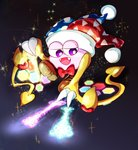 1boy bow bowtie claws commentary_request dark_background fangs flying glowing gradient gradient_background hallons_kabo hat heart hexagon highres jester_cap kirby_(series) magic marx no_humans open_mouth purple_eyes red_bow red_neckwear scales smile solo sparkle wings yellow_wings