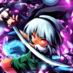 1girl ayakashi_(monkeypanch) bad_id ghost hairband hitodama katana konpaku_youmu konpaku_youmu_(ghost) red_eyes short_hair silver_hair solo sword touhou weapon