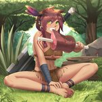 1girl anklet artist_name axe barefoot boned_meat braid breasts brown_hair butterfly_sitting clenched_teeth commentary_request dark_skin dated day eating fang feathers feet feet_together food forest full_body grass green_eyes hair_feathers hair_ornament hand_on_feet hands_on_feet headband highres jewelry loincloth long_hair looking_at_viewer meat medium_breasts midriff nature navel on_ground original outdoors sawasa side_braid signature single_braid sitting soles solo tan teeth thighs toes tree tribal underboob whisker_markings wrist_wrap