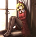 1girl aki_shizuha blonde_hair bored breasts brown_legwear commentary curtains day depressed eyeliner feet frown hair_ornament hater_(hatater) head_tilt highres indoors knees_up leaf leaf_hair_ornament leaf_on_head legs legs_together long_sleeves looking_away looking_out_window looking_to_the_side makeup maple_leaf medium_breasts no_shoes pantyhose red_shirt red_skirt shirt short_hair sitting sitting_in_window skirt skirt_set solo touhou window windowsill wing_collar yellow_eyes