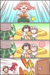 4koma 5girls =3 ^_^ afterglow_(bang_dream!) aoba_moka bang_dream! bangs black_hair bob_cut brown_hair character_name closed_eyes collared_shirt comic cup cushion door drinking_glass drinking_straw emphasis_lines flying_sweatdrops green_neckwear green_skirt grey_hair haneoka_school_uniform hazawa_tsugumi highres holding holding_tray implied_pantyshot jitome kyou_(user_gpks5753) long_hair low_twintails medium_hair michelle_(bang_dream!) miniskirt mitake_ran multicolored_hair multiple_girls necktie open_mouth out-of-frame_censoring plaid plaid_skirt pleated_skirt polka_dot polka_dot_background red_hair shirt short_hair shouting silent_comic sitting skirt skirt_up smile speech_bubble speed_lines spoken_color streaked_hair sweatdrop sweater_vest tray trembling triangle_mouth twintails udagawa_tomoe uehara_himari white_shirt wide-eyed wind wind_lift