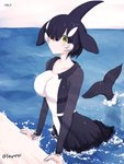 1girl artist_name bangs black_hair blush collarbone commentary_request dolphin_tail dress frilled_dress frills hair_over_one_eye head_fins in_water kemono_friends long_sleeves looking_at_viewer multicolored_hair niwatori_kokezou orca_(kemono_friends) short_hair solo tail two-tone_hair water white_hair yellow_eyes
