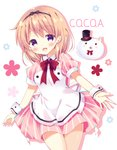 1girl :d angora_rabbit animal apron bitter_crown black_bow black_hairband black_hat blush bow bunny character_name collared_dress commentary_request dress gochuumon_wa_usagi_desu_ka? hair_bow hairband hat hoto_cocoa light_brown_hair long_hair mini_hat mini_top_hat open_mouth pink_dress pleated_dress purple_eyes red_bow smile striped tippy_(gochiusa) top_hat vertical-striped_dress vertical_stripes white_apron white_background wrist_cuffs