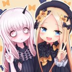 2girls :d abigail_williams_(fate/grand_order) bags_under_eyes bangs black_bow black_dress black_headwear blonde_hair blue_eyes blush bow brown_background commentary_request dress eyebrows_visible_through_hair fate/grand_order fate_(series) forehead hair_bow hat highres horn lavinia_whateley_(fate/grand_order) long_hair long_sleeves multiple_girls open_mouth orange_bow parted_bangs parted_lips pink_eyes polka_dot polka_dot_bow sleeves_past_wrists smile tokiha_(ruinluin) upper_body upper_teeth wide-eyed