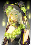 1girl absurdres bad_id bad_pixiv_id breasts cleavage closed_mouth collarbone commentary_request earrings fingernails flower gradient gradient_background green_eyes hand_up hat highres jewelry large_breasts long_hair looking_at_viewer maokezi mole mole_under_eye nail_polish original silver_hair simple_background slit_pupils solo upper_body wide_sleeves witch witch_hat