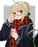 1girl :o adjusting_eyewear ahoge artoria_pendragon_(all) bag bangs black-framed_eyewear black_coat blonde_hair blush braid breath cellphone cellphone_camera coat duffel_bag eyebrows_visible_through_hair fate/grand_order fate_(series) glasses hand_up highres holding holding_phone lens_flare long_sleeves looking_at_viewer mysterious_heroine_x_(alter) open_clothes open_coat open_mouth palms phone plaid plaid_scarf red_scarf scarf semi-rimless_eyewear shiny shiny_hair short_hair smartphone solo tareme tomato_omurice_melon twitter_username two-tone_background under-rim_eyewear upper_body yellow_eyes