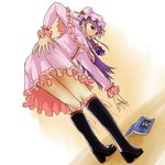 bare_legs bent_over black_footwear book boots dress from_behind knee_boots legs looking_at_viewer looking_back pastell patchouli_knowledge pink_dress purple_hair touhou