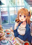 1girl :d absurdres ahoge airmisuzu bangs blue_jacket blue_ribbon blurry blush breasts brown_hair cake cat_hair_ornament chair collarbone commentary_request cup cupcake day depth_of_field dress eyebrows_visible_through_hair fang food frilled_dress frills fruit gelatin hair_ornament hair_ribbon hairclip hand_up highres holding holding_food indoors jacket jewelry long_hair long_sleeves macaron milkshake nail_polish necklace one_side_up open_clothes open_jacket open_mouth original plant plate pom_pom_(clothes) purple_eyes red_nails ribbon road sidelocks sidewalk sitting slice_of_pie smile solo spoon star star_hair_ornament strawberry table tareme tea teacup teapot tiered_tray tree whipped_cream white_dress window