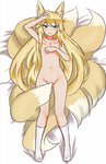 1girl animal_ears blonde_hair blush boy_(pixiv17542438) calf_socks covering covering_breasts covering_crotch flat_chest fox_ears fox_tail green_eyes highres kitsune long_hair mon-musu_quest! multiple_tails nude tail tamamo_(mon-musu_quest!) tattoo very_long_hair