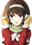 1girl :d alternate_eye_color blush brown_hair capelet christmas close-up commentary face gloves green_scarf hairband highres kantai_collection kuroganeruto long_sleeves looking_at_viewer mittens open_mouth scarf short_hair simple_background smile solo tanikaze_(kantai_collection) upper_body yellow_gloves