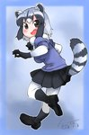 1girl animal_ears artist_name bangs black_footwear black_gloves black_legwear black_neckwear black_skirt blue_shirt bodystocking bow bowtie commentary common_raccoon_(kemono_friends) dated extra_ears fang fanta_(the_banana_pistols) from_behind full_body fur_collar gloves grey_hair highres kemono_friends leg_up loafers looking_at_viewer looking_back miniskirt multicolored_hair open_mouth pleated_skirt raccoon_ears raccoon_tail shirt shoes short_hair short_sleeves silver_hair skirt smile socks solo standing standing_on_one_leg striped_tail tail
