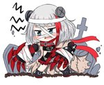 1girl admiral_graf_spee_(azur_lane) azur_lane bailingxiao_jiu bandaged_head bandages bangs black_dress black_footwear blue_eyes blush boots chibi claws dress eyebrows_visible_through_hair fang looking_away multicolored_hair open_mouth red_hair red_scarf scarf short_hair silver_hair simple_background solo standing streaked_hair tombstone wavy_mouth white_background