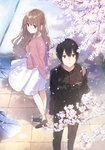 1boy 1girl arms_behind_back black_hair blue_eyes booota brown_eyes brown_hair cherry_blossoms commentary_request cover cover_page dress earrings feet_out_of_frame flower from_above from_side full_body gakuran hello_hello_and_hello jacket jewelry light_smile loafers long_hair long_sleeves looking_at_viewer looking_back novel_cover official_art outdoors petals pink_jacket puddle school_uniform shoes socks spring_(season) standing tile_floor tiles water white_dress