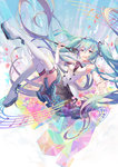 1girl aqua_eyes aqua_hair beamed_quavers boots crotchet detached_sleeves flower hatsune_miku highres long_hair looking_at_viewer magical_mirai_(vocaloid) microphone minland4099 musical_note open_mouth outstretched_arm platform_footwear quaver skirt solo staff_(music) thigh_boots thighhighs twintails very_long_hair vocaloid white_legwear