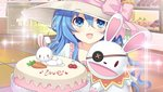 1girl aqua_eyes aqua_hair blue_eyes bunny cake carrot cherry curly_hair date_a_live diffraction_spikes eyebrows_visible_through_hat eyepatch food food_writing frills fruit hat long_hair looking_at_viewer open_mouth puppet smile tsunako upper_body yoshino_(date_a_live) yoshinon
