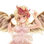1girl alternate_costume animal animal_on_head apron armpits arms_up bird bird_wings blonde_hair blush breasts chick commentary_request cowboy_shot feathered_wings fingernails grin head_tilt holding kerotsupii_deisuku looking_at_viewer medium_breasts multicolored_hair naked_apron niwatari_kutaka on_head pepper_shaker red_hair sideboob simple_background smile solo standing touhou two-tone_hair white_background wings yellow_eyes