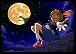 1girl amakan! blonde_hair cloud cloudy_sky flying full_moon hair_ribbon highres looking_at_viewer moon open_mouth reaching_out red_eyes ribbon rumia short_hair sky smile solo star_(sky) starry_sky touhou town