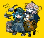 2girls anpanman_(character) backpack bag blue_eyes bow box character_mask closed_eyes crossed_arms doraemon doraemon_(character) fang gloves green_bow green_hat gundam hat hata_no_kokoro holding holding_mask kawashiro_nitori long_hair long_sleeves mask mechanical_arm mobile_suit_gundam multiple_girls no_nose open_mouth pink_eyes pink_hair pocket rx-78-2 smile standing steel-toe_boots tetsujin_28 touhou translation_request very_long_hair yellow_background yellow_bow yt_(wai-tei)