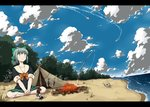 1girl any_(lucky_denver_mint) barefoot beach blue_sky bonfire bow brown_eyes cloud crossed_legs eyebrows_visible_through_hair fairy_(kantai_collection) fish fishing_rod full_body green_bow green_hair green_skirt hair_bow kantai_collection looking_up pleated_skirt ponytail school_uniform serafuku short_sleeves sitting skirt sky tent yuubari_(kantai_collection)