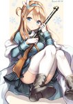 1girl :o bangs beige_background blue_eyes blue_hairband blue_jacket blue_skirt blush boots breasts brown_footwear character_name commentary convenient_leg eyebrows_visible_through_hair fur-trimmed_jacket fur_trim girls_frontline gloves gun hair_between_eyes hair_ornament hairband hands_up head_tilt holding holding_gun holding_weapon jacket light_brown_hair long_hair long_sleeves looking_at_viewer medium_breasts object_namesake one_side_up parted_lips pleated_skirt sakura_ani sitting skirt snowflake_hair_ornament snowflakes solo striped submachine_gun suomi_kp/-31 suomi_kp31_(girls_frontline) thighhighs two-tone_background vertical-striped_skirt vertical_stripes weapon white_background white_gloves white_legwear