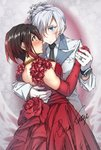 2girls artist_name bare_shoulders black_hair black_neckwear blue_eyes blush breasts cleavage cowboy_shot dress earrings elbow_gloves eye_contact eyebrows_visible_through_hair flower formal gloves grey_eyes hair_over_one_eye highres holding_hands jewelry large_breasts long_sleeves looking_at_another multicolored_hair multiple_girls necklace necktie profile red_dress red_gloves red_hair ring rosa_katze rose ruby_rose rwby scar scar_across_eye short_hair signature silver_hair smile standing streaked_hair suit tied_hair watch weiss_schnee white_gloves white_hair white_suit wristwatch yuri