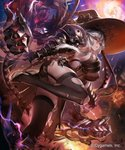 1girl ass black_bow black_dress black_legwear bow breasts dress fire flame garter_straps gauntlets granblue_fantasy hair_between_eyes hat hat_bow high_heels highres huge_breasts leaning_forward long_hair magisa_(granblue_fantasy) moon outdoors shingeki_no_bahamut side_slit silver_hair smile solo standing standing_on_one_leg thighhighs torn_clothes torn_thighhighs tsunekun witch_hat