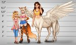 3girls aerodynamict bangle bikini blonde_hair boots bracelet brown_eyes brown_hair cat_girl cat_tail centaur character_chart choker commission commissioner_upload crop_top cross-laced_footwear denim dress feathered_wings fox_girl fox_tail green_eyes height_chart highres hybrid jeans jewelry lace-up_boots looking_at_another looking_at_viewer monster_girl multicolored_hair multiple_girls necklace original pants sandals short_shorts shorts size_comparison smile spread_wings streaked_hair swimsuit tail white_hair wings