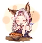 1girl animal_ears bare_shoulders blush bowl cat_ears closed_mouth eating erune food food_on_face granblue_fantasy hand_on_own_cheek heart highres long_hair looking_at_viewer rice rice_on_face scathacha_(granblue_fantasy) silver_hair simple_background smile spoon sukemyon