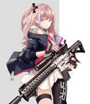 1girl black_gloves black_jacket black_legwear blue_eyes brown_hair cancell cowboy_shot fingerless_gloves girls_frontline gloves grey_background gun hair_ornament highres holding holding_gun holding_weapon jacket legband long_sleeves looking_at_viewer multicolored_hair off_shoulder one_side_up open_clothes open_jacket purple_eyes rifle scope simple_background single_thighhigh skirt sniper_rifle solo st_ar-15_(girls_frontline) standing thighhighs weapon white_skirt