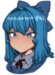 1girl blue_eyes blue_hair bow cirno close-up face hair_bow hair_intakes neck_ribbon ribbon shirt short_hair simple_background solo space_jin touhou white_background
