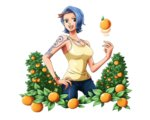1girl :d arm_tattoo band bangle blue_eyes blue_hair blue_pants bodskih bracelet breasts cleavage collarbone cowboy_shot denim food fruit hand_on_hip jewelry large_breasts looking_at_viewer nojiko one_piece open_mouth orange pants red_hair shiny shiny_clothes shirt short_hair sideboob sleeveless sleeveless_shirt smile solo standing tattoo transparent_background yellow_shirt