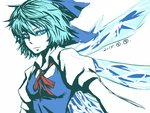 1girl blue_dress blue_eyes blue_hair bow cirno dated dress hair_bow ice ice_wings looking_at_viewer miata_(miata8674) puffy_short_sleeves puffy_sleeves shirt short_hair short_sleeves solo touhou upper_body wings