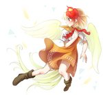 1girl arms_up bird bird_tail bird_wings blonde_hair boots brown_dress brown_footwear capelet chick commentary_request dress feathered_wings feathers foreshortening full_body highres layered_dress looking_to_the_side mirei_(miirei) multicolored_hair neck_ribbon niwatari_kutaka outstretched_leg profile puffy_short_sleeves puffy_sleeves red_eyes red_hair red_neckwear ribbon short_hair short_sleeves simple_background smile solo touhou two-tone_hair white_background wings