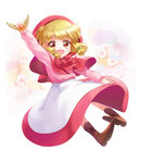 1girl :d akazukin_chacha amulet apron arm_at_side arm_up blonde_hair blush boots brown_eyes brown_footwear chacha_(akazukin_chacha) child cloak cross-laced_footwear dot_nose eyebrows_visible_through_hair eyelashes floating floral_background flower full_body hair_ornament hood long_skirt long_sleeves looking_at_viewer low_twintails moai_(aoh) neck_ribbon open_mouth pink_shirt puffy_sleeves red_hood red_ribbon red_skirt ribbon shirt shoe_soles short_hair skirt smile solo tareme twintails waist_apron white_apron white_background