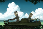 2girls blonde_hair blue_sky cloud glasses hanna_rudel long_hair military military_uniform military_vehicle motor_vehicle motorcycle multiple_girls perrine_h_clostermann ponytail reading shiratama_(hockey) sky strike_witches tank uniform vehicle