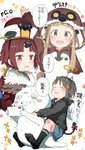 3girls :d angel_wings ano_ko_wa_toshi_densetsu bangs benienma_(fate/grand_order) bird_costume bird_hood black_hoodie black_legwear blue_shorts blush bow brown_eyes brown_hair brown_hat cellphone closed_eyes commentary_request copyright_name demon_horns demon_tail eyebrows_visible_through_hair fake_halo fake_horns fate/grand_order fate_(series) feathered_wings gomennasai hair_ornament hairclip hat holding holding_cellphone holding_phone hood hood_down hood_up hoodie horns ichihara_nina idolmaster idolmaster_cinderella_girls kuno_misaki long_hair low_ponytail multiple_girls no_shoes open_mouth phone ponytail red_bow red_eyes seiyuu_connection short_shorts shorts sidelocks smile socks soles tail tail_bow tears translation_request trembling v-shaped_eyebrows very_long_hair white_wings wings zangyaku-san