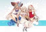 animal animal_on_head bow crab dress fate/grand_order fate_(series) hat long_hair marie_antoinette_(fate/grand_order) marie_antoinette_(swimsuit_caster)_(fate) multiple_persona no-kan on_head sandals smile sun_hat sundress swimsuit twintails very_long_hair