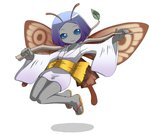 1girl antennae bangs blue_eyes branch breasts brown_wings butterfly_wings choukeshin_(megami_tensei) closed_mouth collarbone devil_summoner eyebrows eyelashes fairy flying full_body geta grey_skin holding japanese_clothes kimono leaf long_sleeves nollety obi parted_bangs purple_hair sash shadow shin_megami_tensei short_hair short_kimono simple_background small_breasts smile solid_eyes solo thigh_gap white_background white_kimono wings