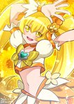 0417nao 1girl 2015 arms_up blonde_hair bow brooch crop_top cure_sunshine dated hair_bow heartcatch_precure! jewelry long_hair magical_girl midriff myoudouin_itsuki navel orange_bow precure signature skirt smile solo twintails twitter_username yellow_bow yellow_eyes