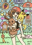 1girl ayumi_(pokemon) baseball_cap blush blush_stickers brown_eyes brown_hair charmander commentary directional_arrow ditto eevee feet_out_of_frame food fruit garouma gen_1_pokemon grapes grass hat highres holding holding_pokemon jigglypuff lightning_bolt mountain open_mouth outdoors pikachu pokemon pokemon_(creature) pokemon_(game) pokemon_lgpe pokemon_on_shoulder shirt short_sleeves shorts sign signature smile standing