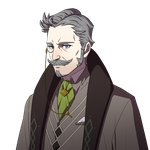 1boy blue_eyes collared_shirt comb_over commentary cravat facial_hair fire_emblem fire_emblem:_three_houses formal goatee grey_hair hanneman_(fire_emblem) kurahana_chinatsu looking_at_viewer messy_hair monocle mustache official_art pin pointy_hair scarf shirt sideburns solo suit transparent_background upper_body wrinkles