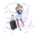 1girl augma blue_headwear brown_eyes brown_hair brown_legwear full_body hair_between_eyes hat highres kerchief looking_at_viewer luggage miniskirt official_art pantyhose pencil_skirt shiny shiny_hair short_hair short_sleeves silica skirt smile solo sparkle standing sword_art_online transparent_background twintails v