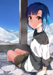 7zu7 blue_hair character_request feet_in_water jewelry necklace sky soaking_feet steam sweater water yellow_eyes