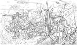120mm_rheinmetall_l55 2boys 3girls aircraft ammunition_pouch animal_ears assault_rifle battle battle_rifle dakku_(ogitsune) explosion fighting gloves goggles goggles_on_head greyscale gun h&k_g3 headset helicopter helmet kneeling looking_at_viewer machine_gun mecha_musume mg3 mi-24 military military_uniform monochrome motion_blur multiple_boys multiple_girls outdoors panties pantyhose pouch reclining rifle sketch soldier strike_witches_1991 striker_unit tail thighhighs torn_clothes torn_legwear underwear uniform war weapon world_witches_series