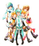 2boys 3girls :d ^_^ age_difference bare_arms bare_shoulders belt blonde_hair blue_hair blue_neckwear blue_scarf boots brown_hair brown_pants closed_eyes coat detached_sleeves eyebrows_visible_through_hair full_body hair_ribbon happy hatsune_miku headset height_difference holding_hands hug hug_from_behind interlocked_fingers kagamine_len kagamine_rin kaito meiko miyuki_(aoisan) multiple_boys multiple_girls necktie open_mouth orange_neckwear own_hands_together pants red_footwear red_skirt red_tank_top ribbon scarf shirt short_hair shorts simple_background skirt sleeveless sleeveless_shirt smile tank_top teeth thigh_boots thighhighs thighs traditional_media twintails vocaloid watercolor_(medium) white_background white_coat white_ribbon white_shirt