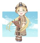 1girl :d belt blonde_hair blue_sky book boots brown_gloves cloud coat cowboy_shot cropped_legs from_side gloves green_eyes headlight helmet holding long_hair looking_at_viewer low_twintails made_in_abyss open_mouth pen riko_(made_in_abyss) short_shorts short_sleeves shorts sky smile solo standing twintails whistle whistle_around_neck writing yue_(kingdom1259)
