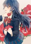 2girls anemone_(flower) anemone_heart bad_id bad_pixiv_id blazer blue_hair blush bow bowtie commentary_request cover cover_page cowboy_shot eyebrows_visible_through_hair flower hair_between_eyes hand_on_another's_chin holding holding_flower jacket long_hair long_sleeves looking_at_another love_live! love_live!_school_idol_project minami_kotori moke_(gaton) multiple_girls open_mouth otonokizaka_school_uniform plaid plaid_skirt pleated_skirt red_neckwear school_uniform skirt sonoda_umi striped_neckwear text yellow_eyes