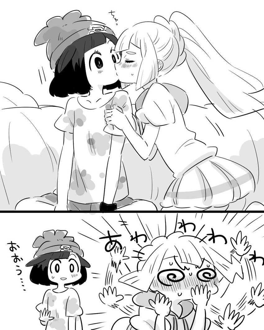 lillie and mizuki (pokemon (game) and etc) drawn by amagaeru (amapippi052525)