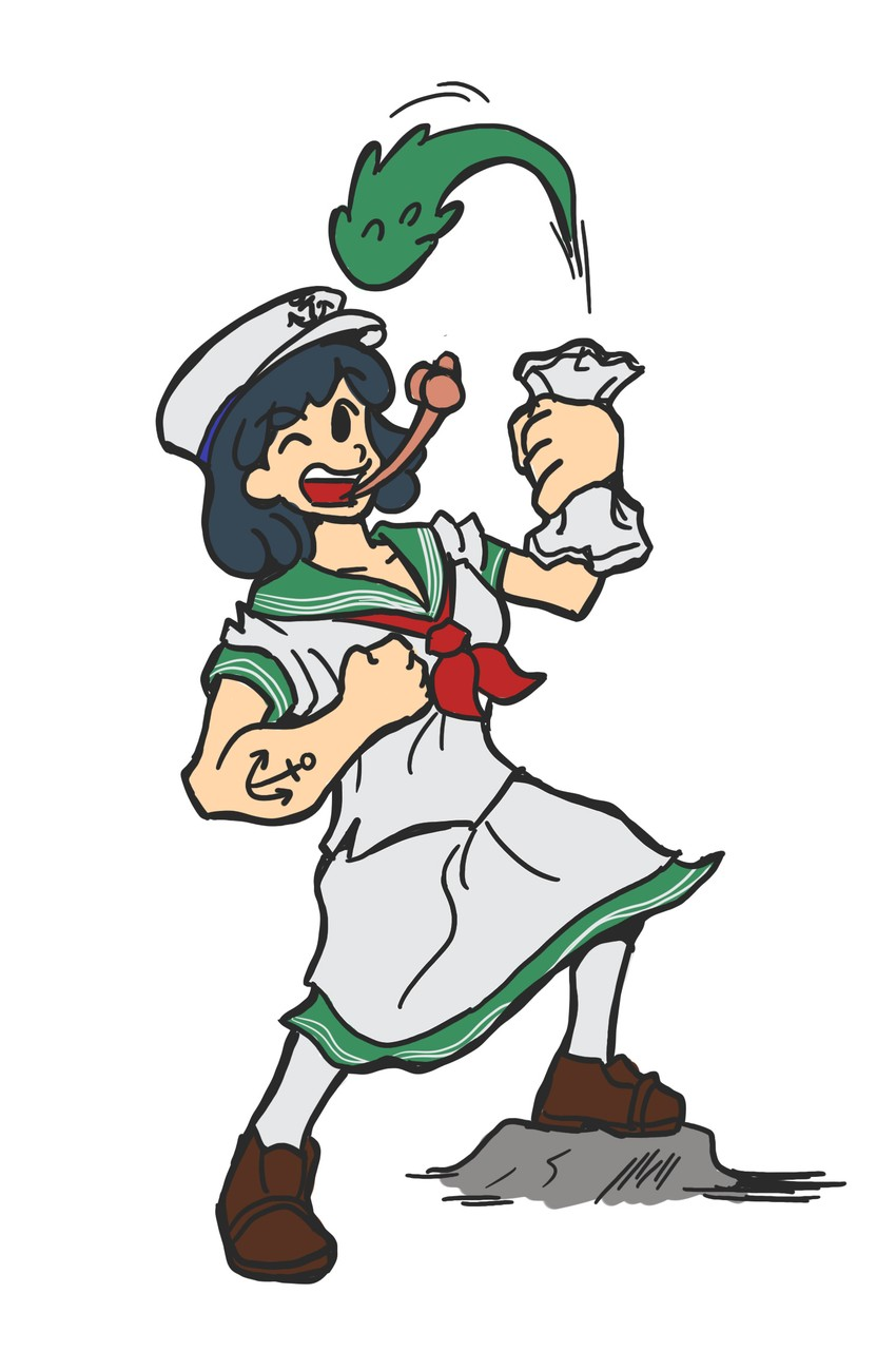 murasa minamitsu and popeye (popeye the sailor and touhou) drawn by aa (anokorok)